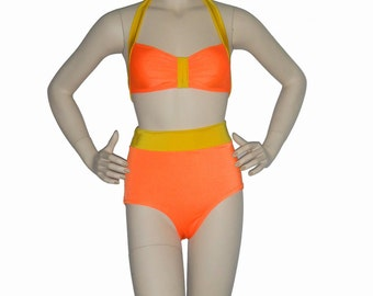 High waisted bathing suit ,Orange and yellow retro inspired bikini, pinup bikini
