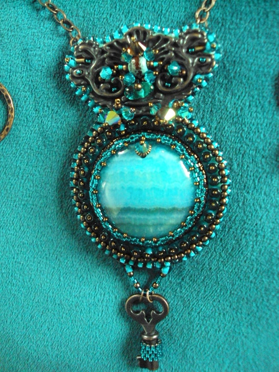Items similar to bead embroidery necklace on etsy