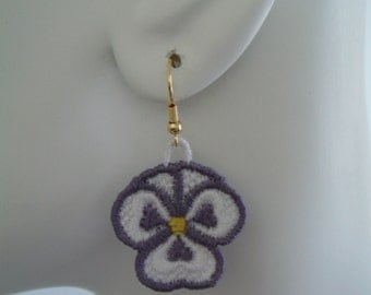 SALE Purple and White Lace Pansy Earrings