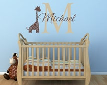 Name and Initial Vinyl Wall Decals Giraffe Wall Decals Jungle Theme Decals Safari Boy Baby Nursery or Boys RoomWall Art WA264