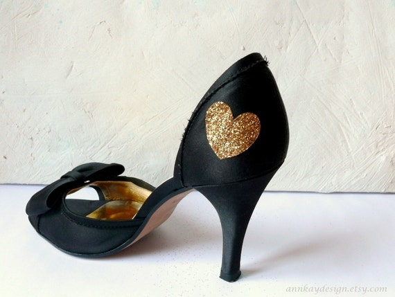 Gold Glitter Heart Shoe Sticker Bridal Shoe Decal 1x