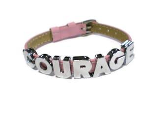 COURAGE Bracelet - Pink Genuine Leather Bracelet -   Silver Studs - 8mm Pink Leather Strap -  Adjustable - Layering Bracelet