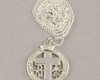 "Vintage Silver Cross inscribed with ""Without Me Ye Can Do Nothing""  - Vintage 925 Sterling Silver Christian Religious Medal - Raymond C Yard"