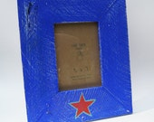 Picture frame from reclaimed wood  - 5x7 - Blue with hand painted star