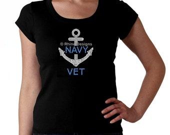Navy Vet RHINESTONE t-shirt tank top sweatshirt -  S M L XL 2XL - Bling Naval Anchor Military Veteran Veterano