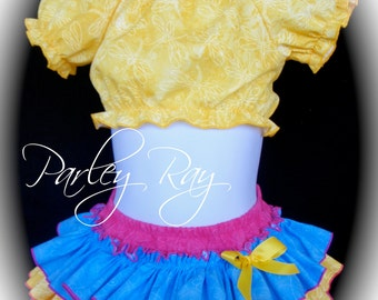 Beautiful Parley Ray Cotton Candy All Around Ruffle Skirt Ruffled Bloomers/ Diaper Cover