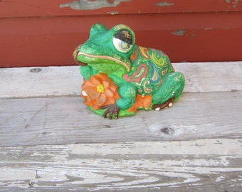Vintage Chalk  or Plaster Statue Green Frog  1960s Chippy Painted  Hippie Retro Garden Decoration