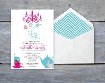 "ALICE in Wonderland Birthday Invitation - Onederland - 7""x5"" - Personalized - Print your own"