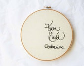 Cream embroidery hoop wedding decor / custom design / names and date / 8 inch size