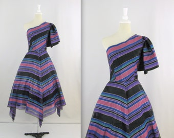 On Sale Vintage Prom Dress - 1980s Does 50s Full Skirt Dress w/ One Shoulder in Black & Pink Stripes in xSmall by Gloria