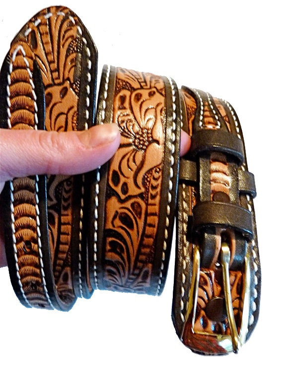 1970s JUSTIN brand leather western belt with stamped / embossed floral pattern