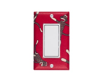 Sock Monkey Light Switch Plate Cover / Gender Neutral Baby Nursery Decor / Red and Brown / Rocker Decora Paddle Switch