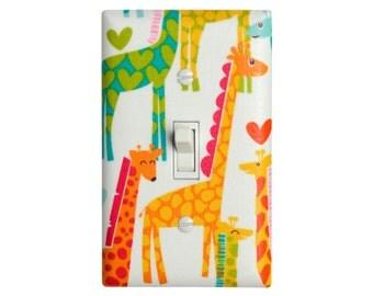 Giraffe Love Light Switch Plate Cover / White, Pink, Yellow, Green / Children Kids Room / Baby Girl Nursery Decor / Michael Miller