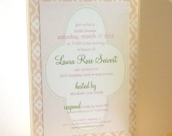 Bridal or Baby Shower - Invite Package - Modern Elegance / Flower Pattern Design (25)