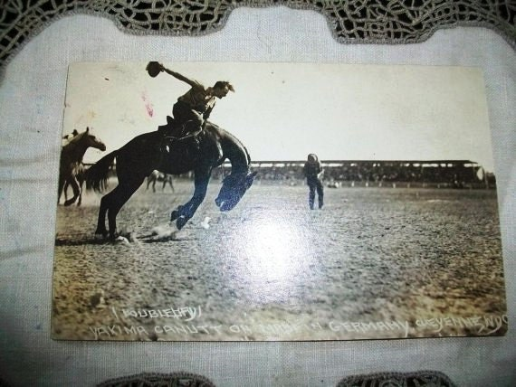 Vintage Rodeo Postcard Cowboy on Bronco in Cheyenne, Wyoming RPPC