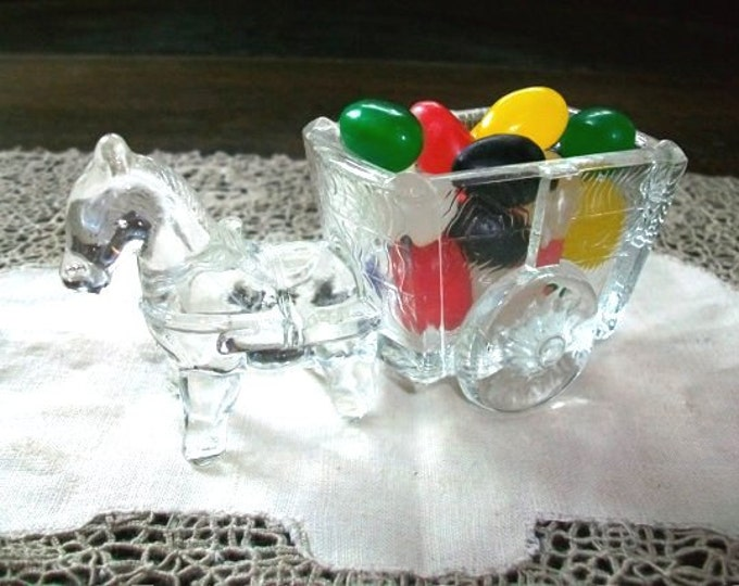 Vintage Candy Container Glass Horse and Cart