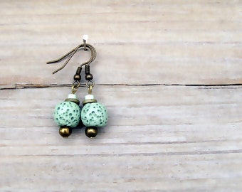 Mint Earrings, Sponge Coral Earrings, Eco Friendly
