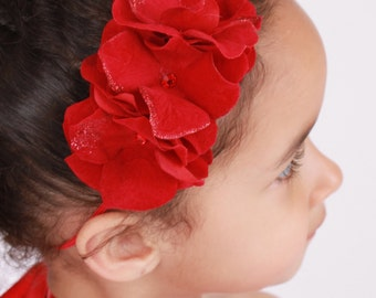 READY TO SHIP: Blazing Beauty - Red - Flower Headband - Fits infant to adult - Cutie Patootie Designz