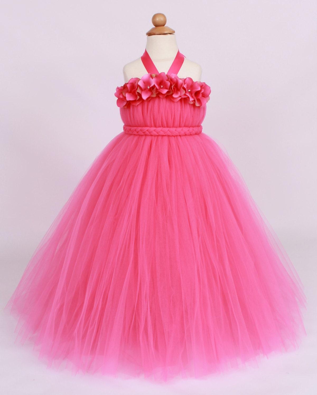 Flower Girl Tutu Dress Hot Pink Tickled by Cutiepatootiedesignz