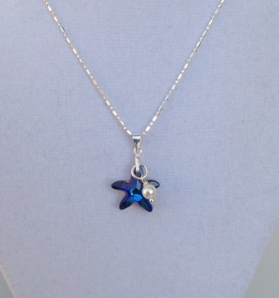 Ocean Blue Swarovski Starfish with Pearl on Diamond Cut Sterling Necklace, Shades of Blue and Violet, Beachy, Nautical, Seaside, Sealife