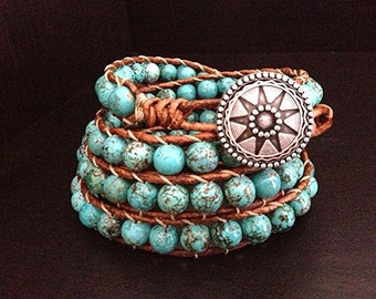 Southwestern Turquoise Beaded Leather Wrap Bracelet