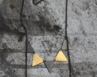 gold and black triangles, geometric strand triangles, long necklace, party girl, happy necklace, high fashion, perfect gift for her, mobil