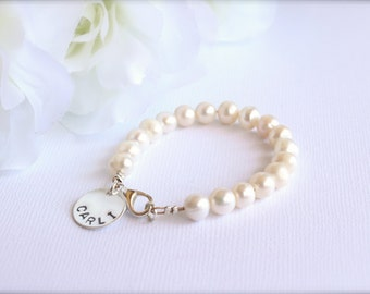 Real Pearls, Sterling Silver Personalized Charm, Girls Bracelet Flower Girl Gift Pearl Bracelet - FREE Gift Packaging