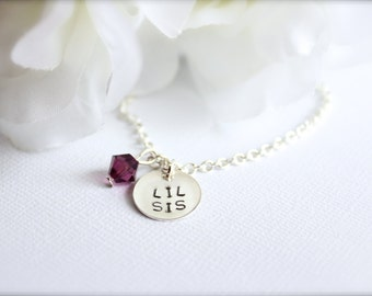 Lil Sis Necklace Sterling Silver Hand Stamped Round Charm, Little Sister Gift Birthstone Crystal Silver chain -- FREE Gift Packaging