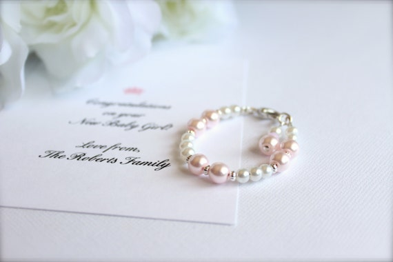Blush Pink Baby Bracelet Baby Girl Gift Welcome Baby Card, 1st Pearls Keepsake/Gift Pale Pink Pearl Baby Bracelet-- FREE Gift Packaging