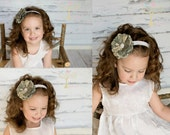 Army ACU Twill Fabric Flower Headband (Rounded Petals)