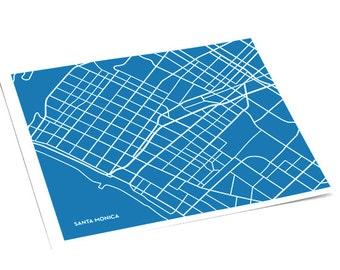 Santa Monica City Map Line Art / California Wall Art Poster / 8x10 Digital Print / Custom colors