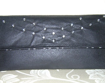 Caviar Distressed Jeweled Black Envelope Clutch - SALE