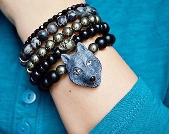 Black Wolf Bracelet - Lone Wolf