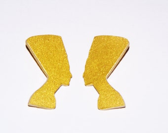 Nefertiti Stud Wood Earrings