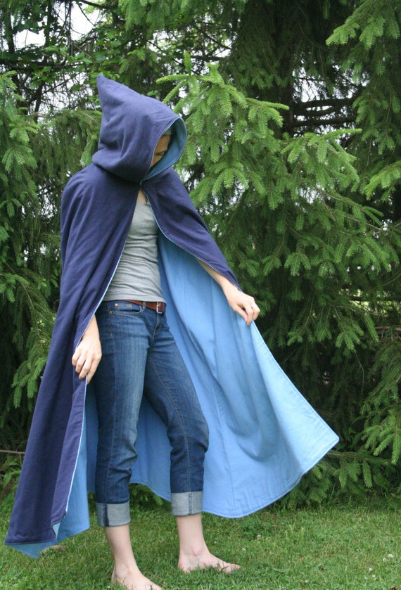 Navy/Light Blue Reversible Hooded Cloak