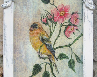 """Vintage Bird Art Goldfinch Shabby Pink Roses Painting Shabby White Cottage Chic Home Decor Ornate Pressed Wood 10 1/2"""" x 17"""""""
