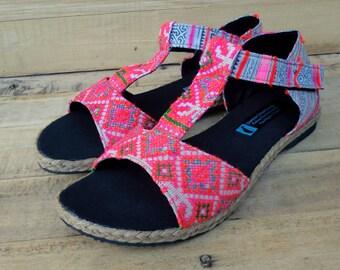 Hmong Vintage Embroidery and Batik Pink T-Strap Vegan Womens Sandal - Lindsay