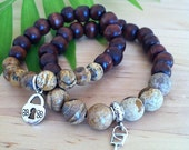 His and Hers His and His Hers and Hers Yogi Key and Heart Buddha partner bracelets with wood beads, jasper, and lock key for men or women