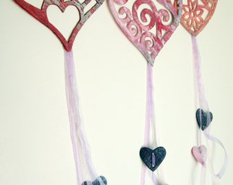 Felt Heart Hanging Decoration Mothers Day / Wedding Gift / Girls Bedroom