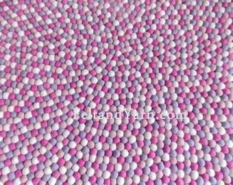 Pinky Felt ball rug, Felt ball rugs Nepal, Freckle felt ball rug, Free delivery.