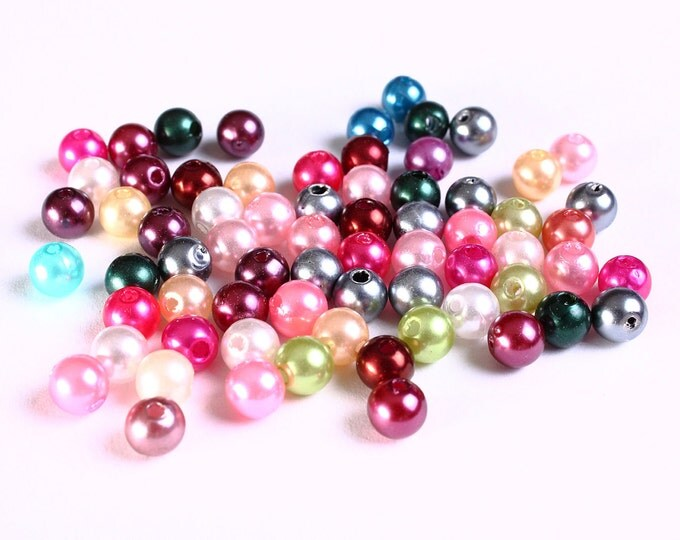 Sale Clearance 20% OFF - 6mm Pearl finish Mixed color beads - 6mm faux pearl beads - 6mm round beads - 100 pieces (1054)
