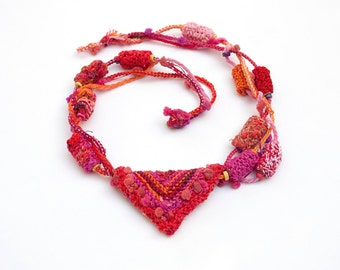 Red tribal necklace, statement knitted jewelry, OOAK