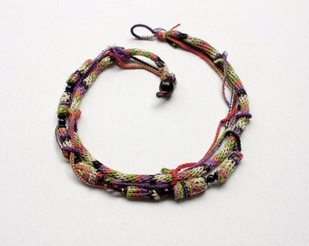 Knitted necklace with bamboo and wooden beads, black orange purple chartreuse, OOAK