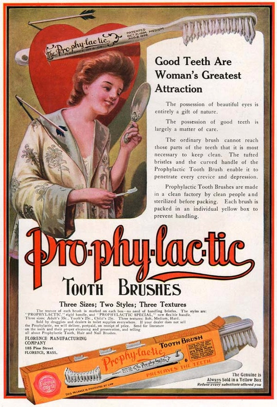 Eleven Vintage on Etsy has this early Prophylactic tooth brush