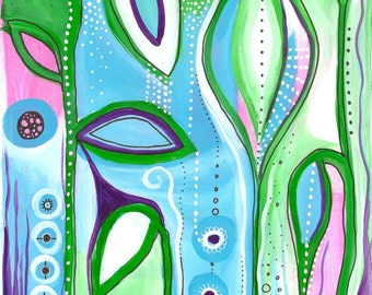 Organic abstract painting filled with dots, blue, green, pink and purple leaves.
