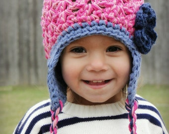 Crochet Baby Hat, kids hat, crochet earflap hat, little girls hat, newborn hat