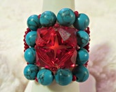 Color Block Turquoise Dyed Howlite and Red Siam Swarovski Crystal Stretch Band Square Cocktail Ring