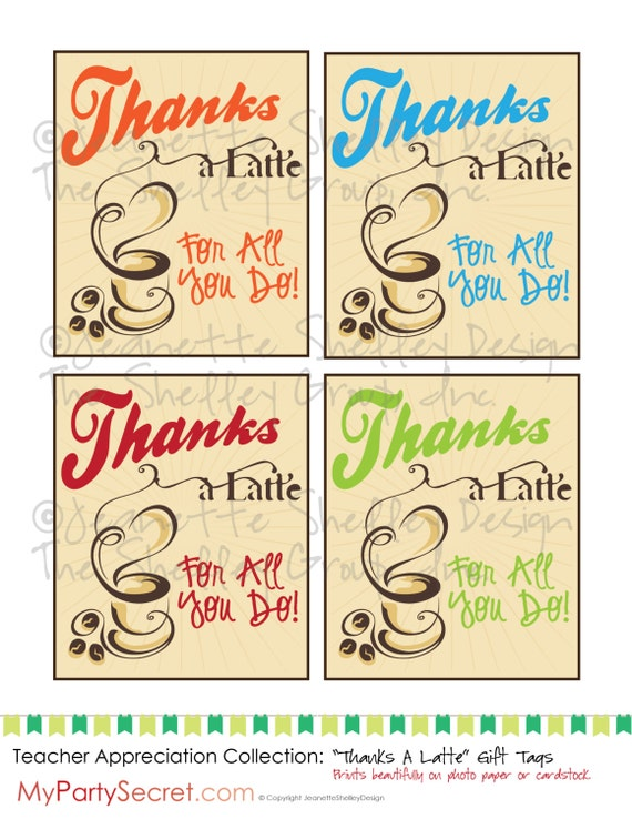 Refreshing image for thanks a latte printable