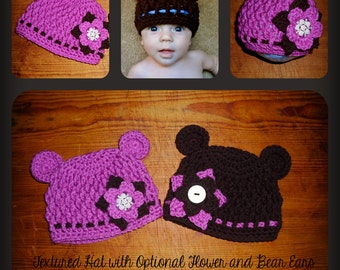 Textured Flower Hat - Crochet Pattern 46 - us or uk Terms - Newborn to Adult Sizes Included - Bear Flower Hat -  INSTANT DOWNLOAD