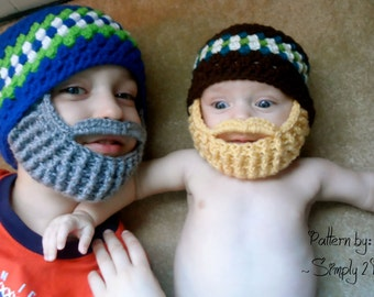 Textured Beanie and Beard Crochet Pattern - 56 - INSTANT DOWNLOAD